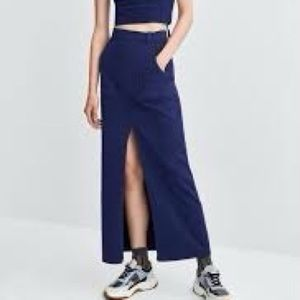 Zara Navy blue A-line long skirt with front slit